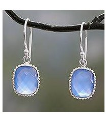 chalcedony dangle earrings, 'delhi sky' (india)