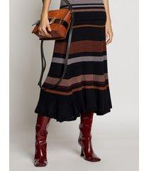 proenza schouler zig zag stripe knit skirt black multi l