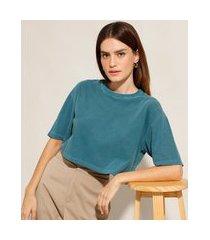 t-shirt oversized cropped de algodão manga curta decote redondo mindset verde petróleo