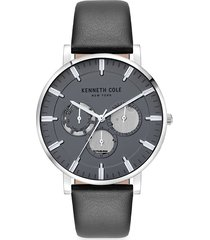 kenneth cole new york men's dress sport stainless steel & leather-strap watch