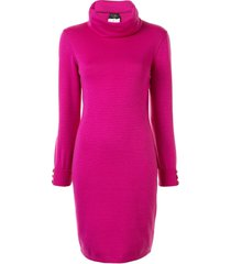 chanel pre-owned funnel neck knitted dress - pink