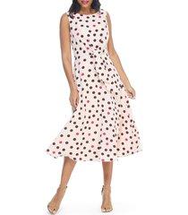 women's maggy london dot print crepe midi dress, size 2 - pink