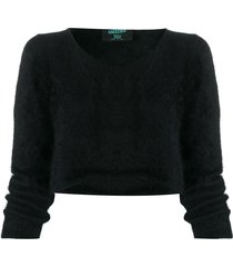 jean paul gaultier pre-owned 1990s fur-effect cropped jumper - black