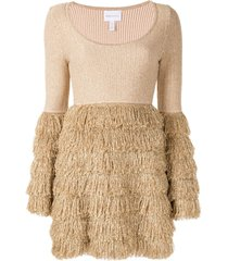 alice mccall tiered fringe dress - brown