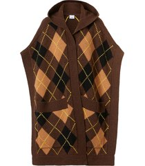 burberry argyle intarsia hooded cape - brown