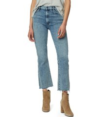 women's mother hustler fray ankle bootcut jeans, size 33 - blue