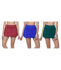 kit 3 shorts saia selene fitness feminino