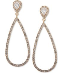 ann klein gold-tone teardrop crystal drop earrings