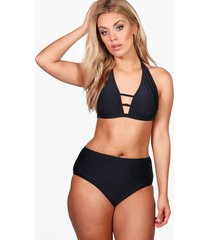 plusmaat bikini met hoge taille met vetersluiting aan voorkant, zwart