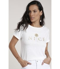"blusa feminina ""nice"" metalizada manga curta decote redondo off white"