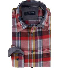 casa moda overhemd comfort fit rood geruit