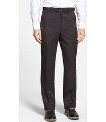 men's berle self sizer waist flat front classic fit microfiber trousers, size 42 x unh - black