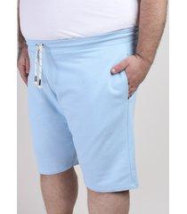bermuda de moletom masculina reta com bolso azul claro
