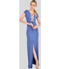 vestido largo manga corta trenzado de mujer aishop af172-1117-502 azul