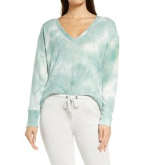 women's socialite tie dye lounge sweatshirt, size large - green
