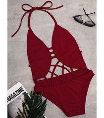 sexy red hollow strappy diseño inalámbrico trajes de baño