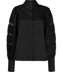 essentiel antwerp balloon sleeves poplin blouse - black
