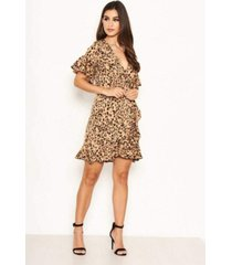 ax paris women's animal print frill wrap dress