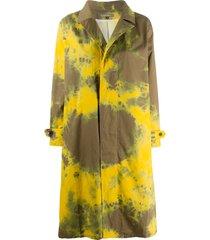 suzusan tie-dye mid-length coat - yellow