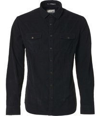 no excess shirt, l/sl, garm.dyed corduroy, ch black