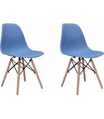 conjunto 02 cadeiras eif.s/branco pp azul bali base madeira