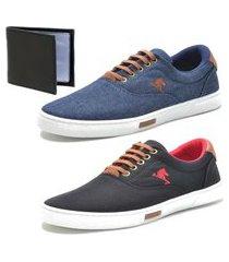 tênis sapatenis sapato conforto polo joy kit 2 pares e carteira preto/azul
