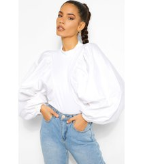 extreme puff sleeve rib top, ivory