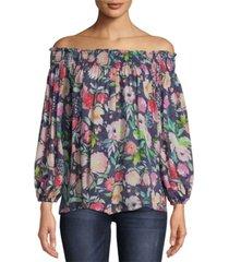 nicole miller watercolor floral smocked top