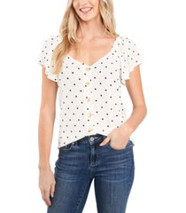 cece dot-print textured blouse