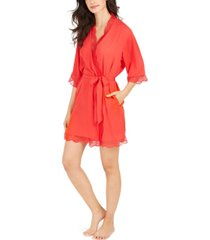 inc lace trim short robe, created for macy's