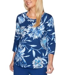 alfred dunner petite sapphire skies braided-neck top