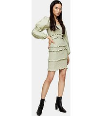 sage shirred pop mini dress - sage