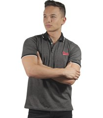 camiseta polo hombre manga corta slim fit gris marfil black