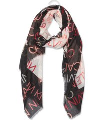 calvin klein border oversized wrap scarf