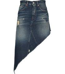 mm6 asymmetric denim skirt