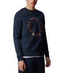boss men's salbo circle navy sweatshirt
