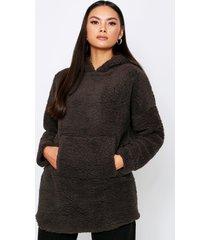 teddy hooded sweater, dark grey