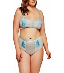 jessie plus size elegant embroidered lace bralette and panty set, 2 piece