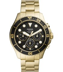 fossil men's chronograph fb-03 gold-tone stainless steel bracelet watch 46mm