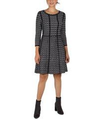 donna ricco contrast-trim patterned knit dress