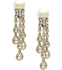 heidi daus women's goldtone, glass pearl & crystal drop earrings