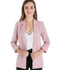 blazer botones decorativos rosa nicopoly