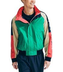 nautica men's colorblocked logo jacket