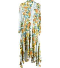 lanvin flower swirl printed long dress - blue