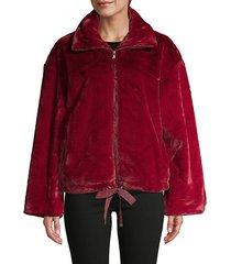 full-zip faux fur jacket