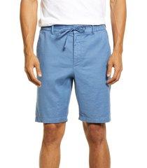men's vince tie waist linen blend shorts, size x-large - blue