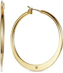 "charter club gold-tone medium flat hoop earrings, 1.65"", created for macy's"