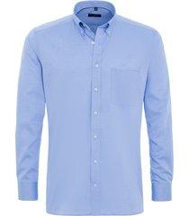 eterna heren overhemd fijn oxford classic button-down modern fit borstzak blauw