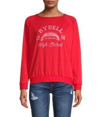 prince peter collection women's graphic raglan-sleeve sweatshirt - red - size s