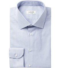 camicia da uomo su misura, grandi & rubinelli, natural stretch blu microrigata, quattro stagioni